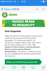 Oxfam email promoting the Emperor's New Clothes